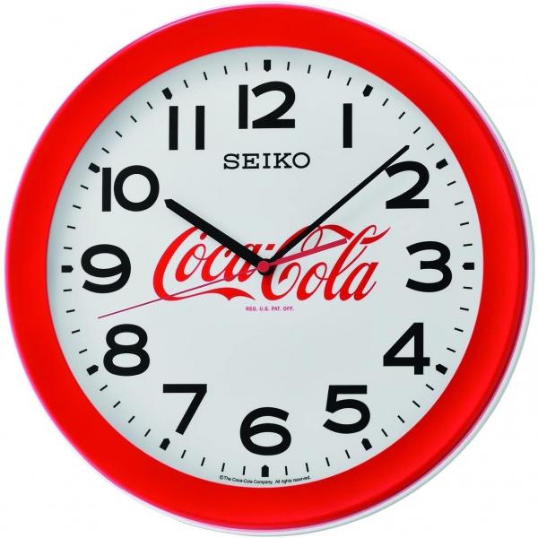 Seiko 3 Zeiger Quarz-Uhrwerk Wanduhr Coca-Cola - rot  QXA922R