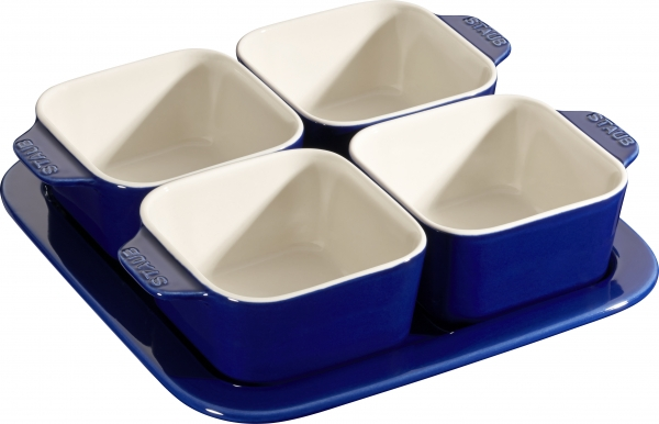 3er Set Staub Keramik Tapas Set, 5-tlg Dipschalen quadratisch Dunkelblau 19 x 19 cm