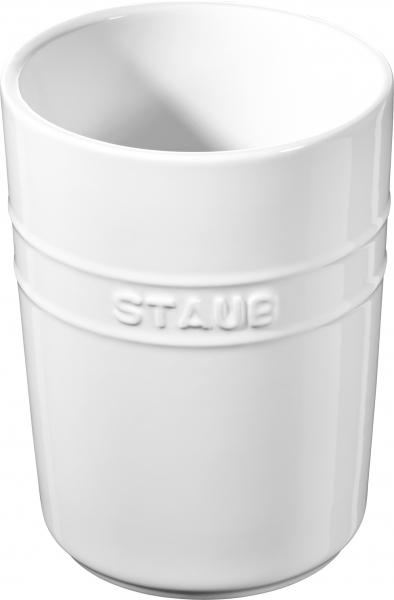 2er Set Staub Keramik Küchen-Utensilienhalter rund Reinweiß 11cm