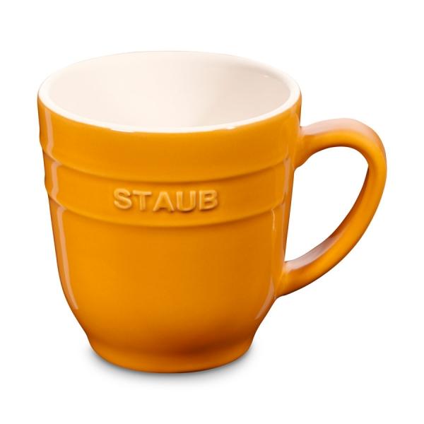 Staub Keramik Kaffeetasse Kakaotasse Teetasse groß Tasse Senfgelb 0,35 L