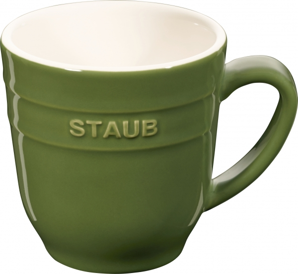 Staub Keramik Becher Kaffeebecher Kaffeetasse Tasse rund Basilikumgrün 0,35L