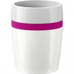 EMSA 4er Set TRAVEL CUP Ceramics, Isolierbecher Reisebecher Kaffebecher Kaffetasse Weiß/Himbeer, 0,2L