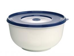 Emsa SUPERLINE Hefeteigschüssel mit Deckel Teigschüssel Salatschüsssel Weiß/Blau 5L