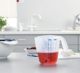 Emsa SUPERLINE Messbecher mit 3 Skalen Maßkanne Messkanne Transparent, 1,0 L