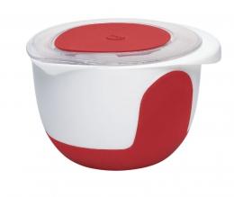 Emsa MIX & BAKE Quirltopf Rührtopf Quirltopf Rührtopf Rührschüssel Backschüssel Backschüssel  2l weiß/rot +Deckel
