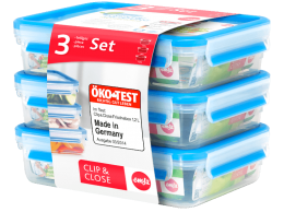 EMSA CLIP&CLOSE 3er Set ÖKOTest Frischhaltedose Vorratsdose Vorratsgefäß 1,2L