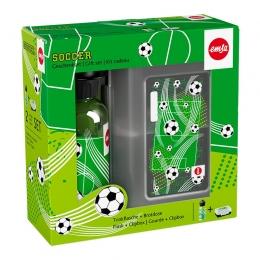EMSA KIDS Trinkflasche & VARIABOLO Brotdose Geschenkset Soccer Fußball