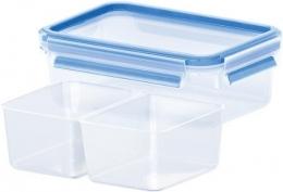 Emsa CLIP & CLOSE Frischhaltedose, Frischhaltedose mit 2 Einsätzen, 1,0 L