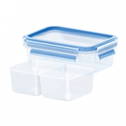 Emsa CLIP & CLOSE Frischhaltedose, Frischhaltedose mit 2 Einsätzen, 0,55 L