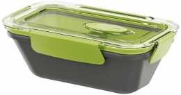 Emsa BENTO BOX Lunchbox Speisegefäß Mikrowellentopf rechteckig 0,5l mit Einsätzen Grau / Grün