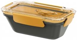 Emsa BENTO BOX Lunchbox Speisegefäß Mikrowellentopf rechteckig 0,5l mit Einsätzen Grau / Orange