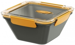Emsa BENTO BOX Lunchbox Speisegefäß Mikrowellentopf quadratisch 1,5l Grau / Orange