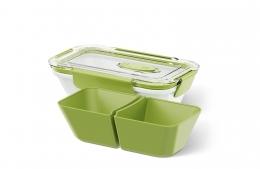 Emsa BENTO BOX Lunchbox Speisegefäß Mikrowellentopf rechteckig 0,5l mit Einsätzen Weiß / Grün