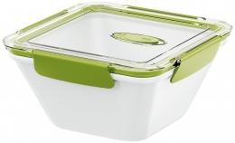 Emsa BENTO BOX Lunchbox Speisegefäß Mikrowellentopf quadratisch 1,5l Weiß / Grün