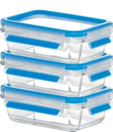 Emsa CLIP & CLOSE GLAS blau Frischhaltedose Set 3 x 0,5 L