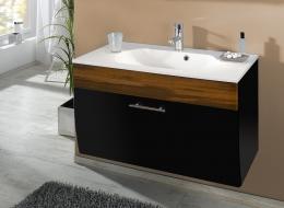 Waschplatz Waschtisch Waschbecken Salona anthrazit-walnuss  Maße B x T x H ca. 97 x 53,5 x 10 cm