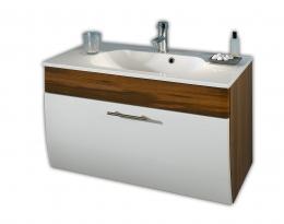 Waschplatz Waschtisch Waschbecken Salona walnuss-weiss  Maße B x T x H ca. 97 x 53,5 x 10 cm