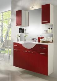 Waschplatz Waschtisch Waschbecken Adelano weiss-rot  Maße B x T x H ca. 104 x 70,5 x 9,5 cm