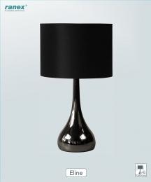 Ranex  Elegante  Tischleuchte mit Touchfunktion, glänzender Fuß/Schirm schwarz, ELINE