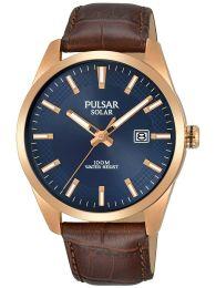 Pulsar Herren Analog Solar Uhr mit Leder Armband  Mineralglas PX3186X1