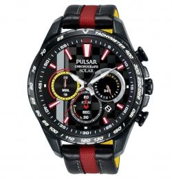 Pulsar Sportliche Herren Analog Solar Uhr mit Leder Armband PZ5081X1