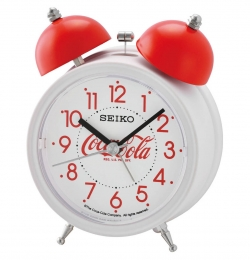 Seiko Wecker Kunststoff analog Weiss/Rot CocaCola QHK905R