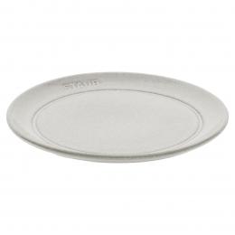 Staub 6er Set Dining Line Teller flach 22 cm, Keramik, Weisser Trüffel kratzfest spülmaschinengeeignet