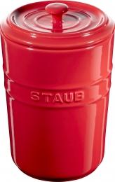 Staub Keramik 2er Set Vorratsdose Frischhaltedose Aufbewahrungsbehälter Kirschrot 1,5 L