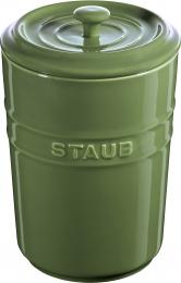 Staub Keramik 2er Set Vorratsdose Frischhaltedose Aufbewahrungsbehälter  Basilikum 1,5 L