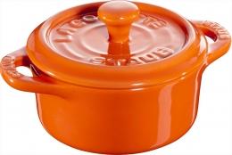 Staub Keramik 6 er Set Mini Cocotte, rund orange 10 cm Ceramic