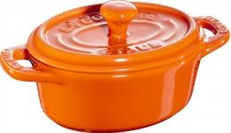 Staub Keramik 6 er Set Mini Cocotte, oval orange 11 cm Ceramic