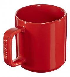 Staub Keramik 4er Set Tasse Kaffeetasse Trinkbecher Becher rund Kirschrot 8 cm