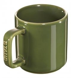Staub Keramik 4er Set Tasse Kaffeetasse Trinkbecher Becher rund Basilikumgrün 8 cm