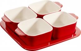 3er Set Staub Keramik Tapas Set, 5-tlg Dipschalen quadratisch Kirschrot 19 x 19 cm