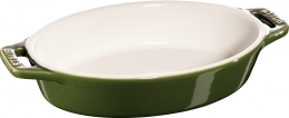 Staub Keramik 2er Set Auflaufform Backform oval Basilikumgrün 17 cm