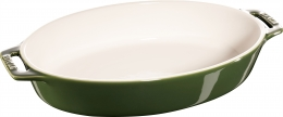 Staub Keramik 2er Set Auflaufform Backform oval Basilikumgrün 29 cm