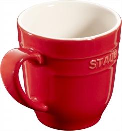 4er Set Staub Keramik Becher Kaffeebecher Kaffeetasse Tasse rund Kirschrot 0,35L