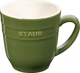 4er Set Staub Keramik Becher Kaffeebecher Kaffeetasse Tasse rund Basilikumgrün 0,35L