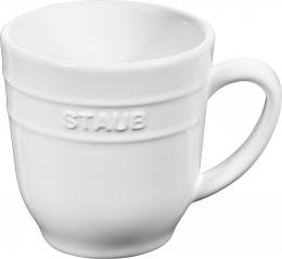 4er Set Staub Keramik Becher Kaffeebecher Kaffeetasse Tasse rund Reinweiß 0,35L