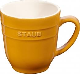 4er Set Staub Keramik Becher Kaffeebecher Kaffeetasse Tasse rund Senfgelb 0,35L