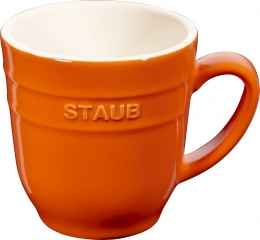 4er Set Staub Keramik Becher Kaffeebecher Kaffeetasse Tasse rund Orange 0,35L