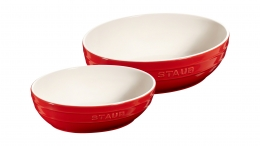 2er Set Staub Keramik Schüssel Set 2-tlg.Salatschüssel Obstschüssel oval Kirschrot 23 & 27cm