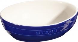 2er Set Staub Keramik Schüssel Set 2-tlg.Salatschüssel Obstschüssel oval Dunkelblau 23 & 27cm