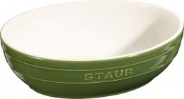 2er Set Staub Keramik Schüssel Set 2-tlg.Salatschüssel Obstschüssel oval Basilikumgrün 23 & 27cm