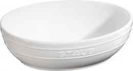 2er Set Staub Keramik Schüssel Set 2-tlg.Salatschüssel Obstschüssel oval Reinweiß 23 & 27cm
