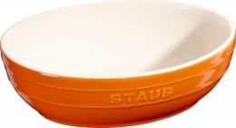 2er Set Staub Keramik Schüssel Set 2-tlg.Salatschüssel Obstschüssel oval Orange 23 & 27cm