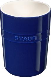 2er Set Staub Keramik Küchen-Utensilienhalter rund Dunkelblau 11cm