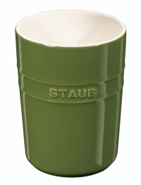 2er Set Staub Keramik Küchen-Utensilienhalter rund Basilikumgrün 11cm