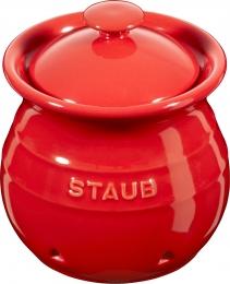 4er Set Staub Keramik Vorratsdose Knoblauchdose rund Kirschrot 11cm