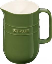 2er Set Staub Keramik Krug Karaffe rund Basilikumgrün 1L
